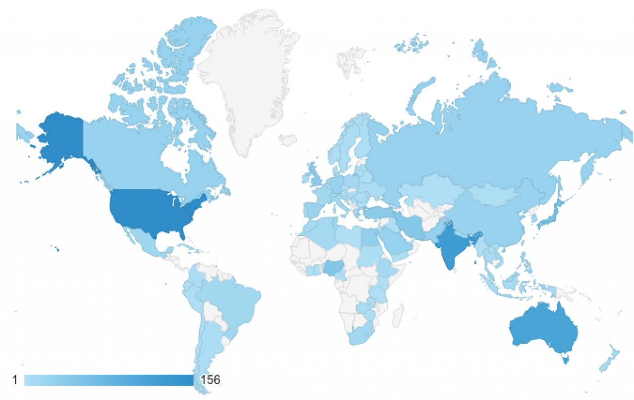 Visitor sessions per country